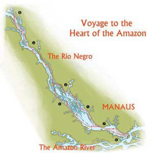 Expedition map of an Amazon voyage on the Motor Yacht Tucano