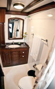 Spacious bathroom on the Motor Yacht Tucano