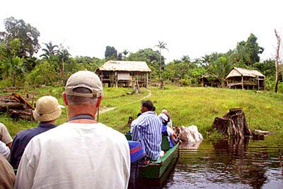 Visting a small Amazon village on cruise of the Motor Yacht Tucano