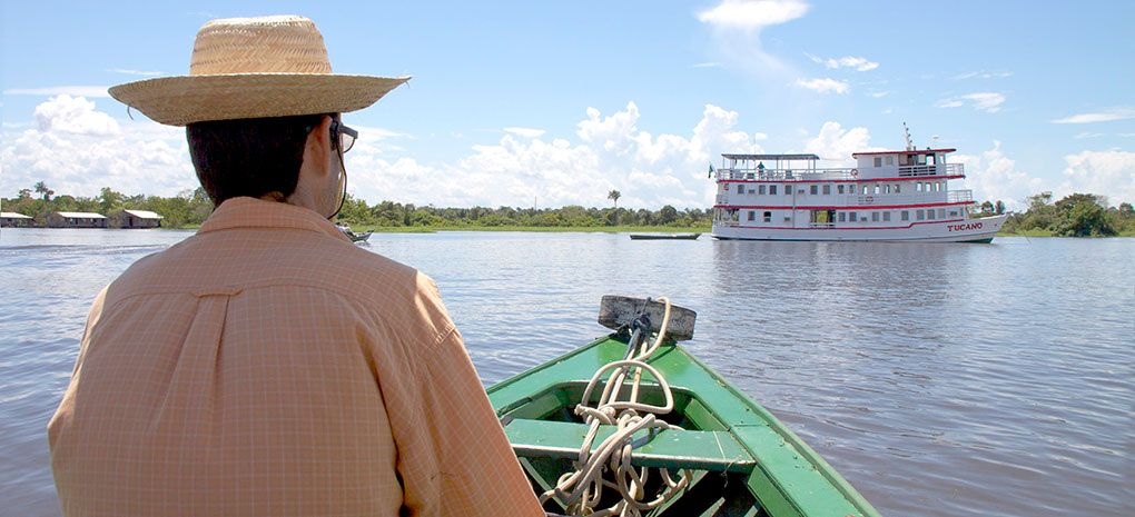 Navigating Toward the Motor Yacht Tucano, Amazon River Cruise