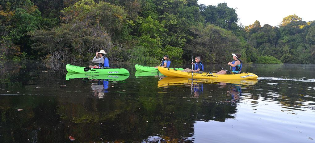 Kayaks on the Amazon River