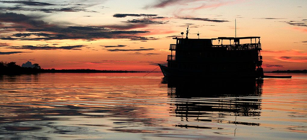 M/Y Tucano at Dusk on the Amazon River Cruise