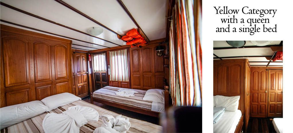 Yellow Category Stateroom / Cabin with Queen and Single Bed on Tucano Amazon River Cruise